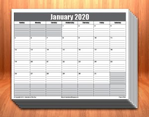 Printable 2020 Calendar With Lines
