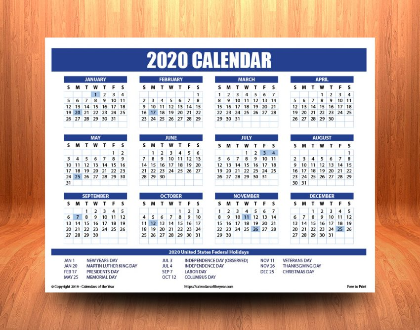 Printable Annual 2020 Calendar With Holidays