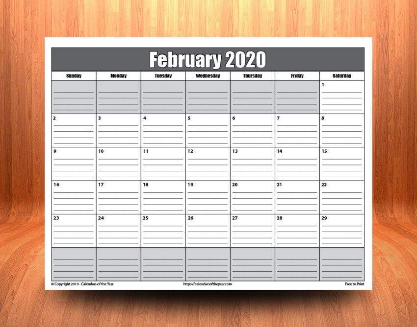 Printable February 2020 Calendar With Lines