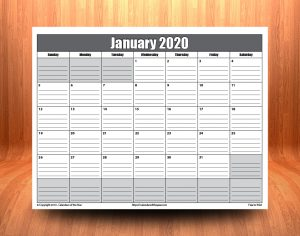 Printable January 2020 Calendar With Lines
