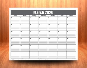 Printable March 2020 Calendar With Lines